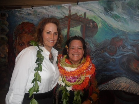 Artist in charge, Melenna Aluli Meyer and Makana Aloha President, Jami Burks