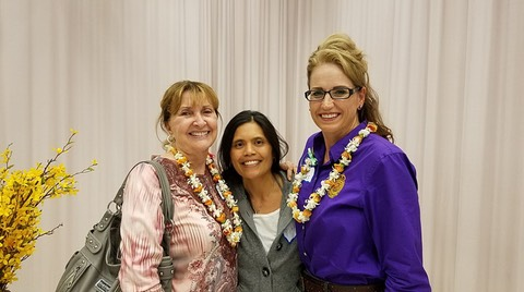 Makana Aloha board members JoRene Valkirs and Jami Burks with Food Innovator winner, Michelle Valentin